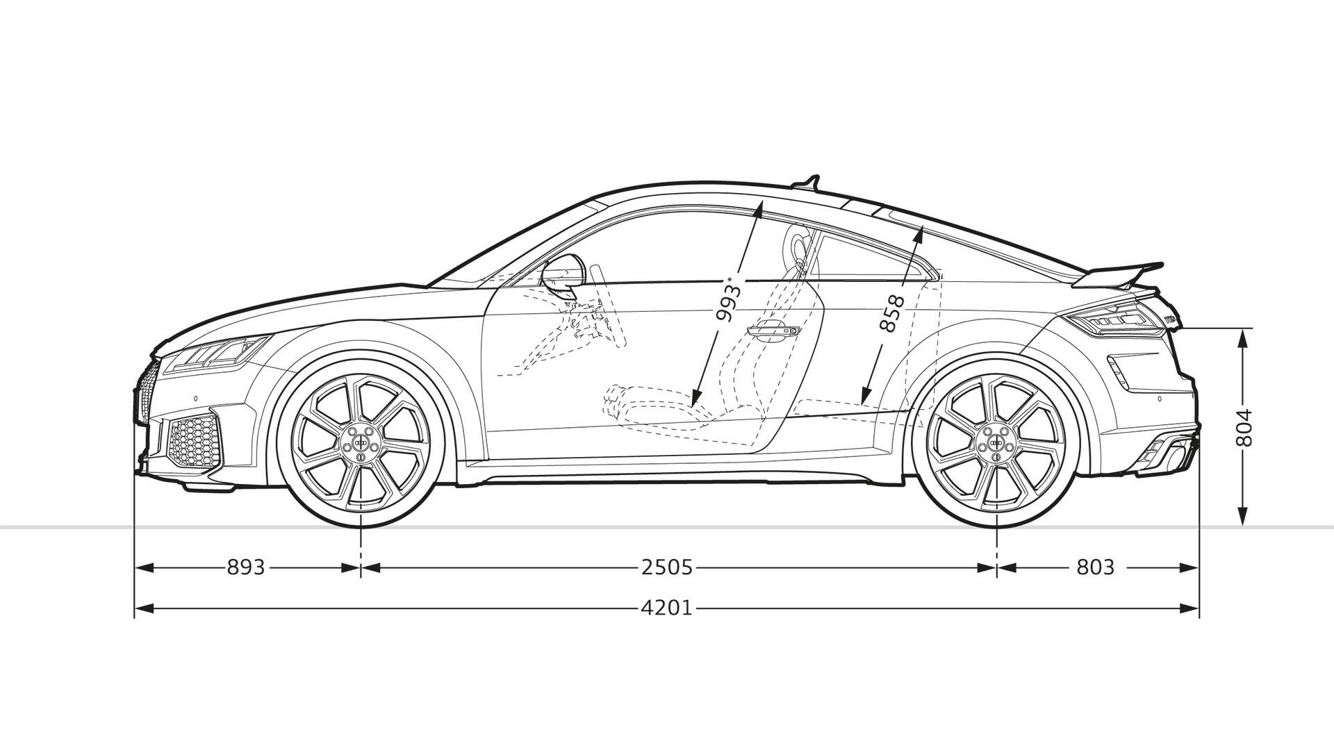 Dimensions side view Audi TT RS Coupé