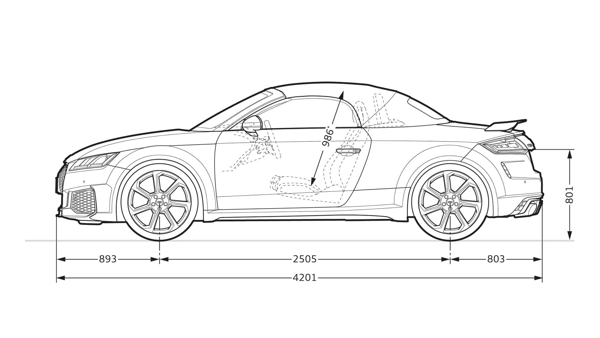 Dimensions side view Audi TT RS Roadster